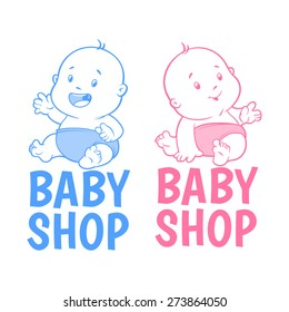 Two baby shop logo. Isolated on a white background