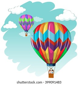 Two balloons flying in the sky illustration