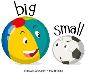 Two balls one big and one small illustration