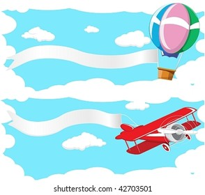 Two banner depicting a flying balloon and aircraft against the blue sky.Done in retro style