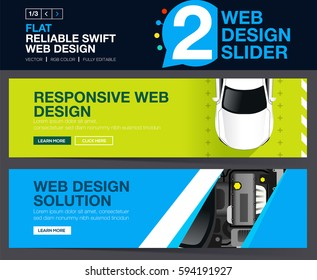 Two banner design with top view on car and engine concepts for your Website