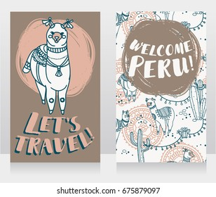 two banner for travel to Peru with cute doodle alapacas, tender palette, vector illustration