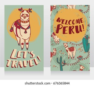 two banner for travel to Peru with cute doodle alapacas, vector illustration