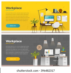 Two banner for web design. Office theme