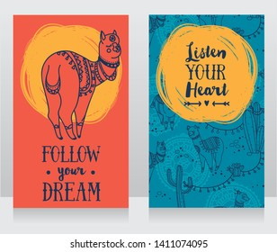 two banners for dream and travel  with cute doodle alapacas, vector illustration