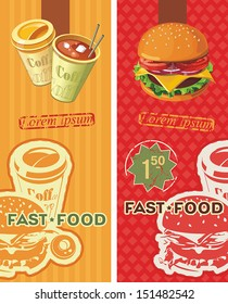 Two banners for the fast-food. Vintage Labels. Information Template Banner