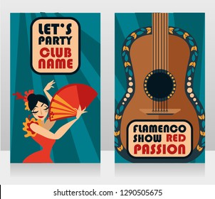 Two banners for flamenco show, traditional gypsy dancer and guitar, vector illustration