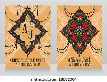 Two banners for oriental style wedding with traditional ornament, vector illustration