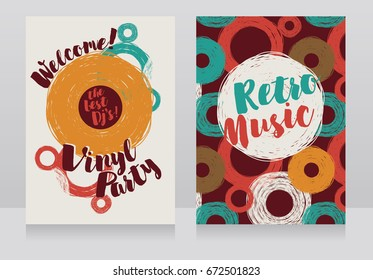 two banners for retro vinyl party, disco style invitations, 60s style colors,  vector illustration