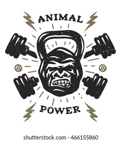 Two barbell and head gorilla weight. Athletic emblem, poster, t shirt design.