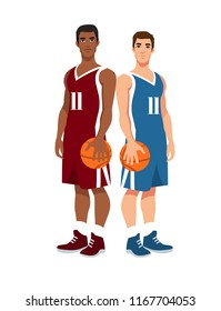 two basketball players standing back to back in uniform with ball isolated on white background. Vector illustration