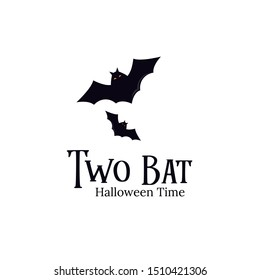 Two Bat Halloween logo template concept for halloween celebration in october. black bat and vampire in horror night.