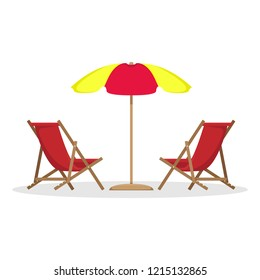 Two beach beds with sun umbrella. Vector illustration.