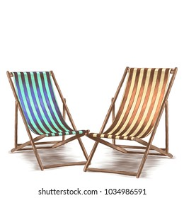 two beach deckchair-striped fabric are facing each other sketch vector graphics color picture