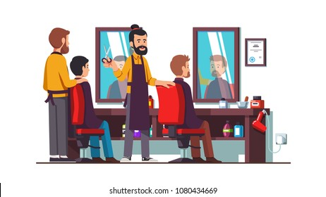Two bearded hairdresser barbers doing male clients haircut in men beauty salon barbershop. Barber shop interior design with chairs, mirrors, desk. Decoration and furniture. Flat vector illustration