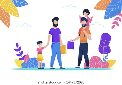 Two Bearded Man Walk with Their Children in Pack. Little Girl Sitting on her Dad Shoulders, Holding her Hand. Father Went for Walk in Park with Child on Hot Summer Day. Guy Holds Paper Bag in his Hand