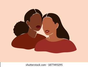Two beautiful black women stand together. Strong African American girls side by side. Sisterhood and females friendship. Vector illustration for International Women's day