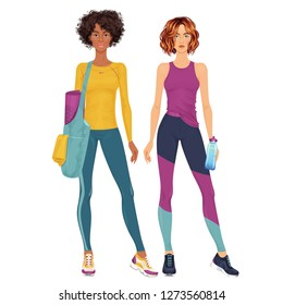 Two beautiful dress up female paper dolls, ready for cut out and play. Sportswear theme. Vector illustration.