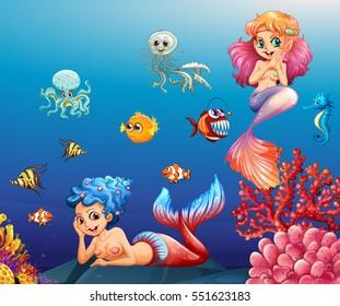Two beautiful mermaids and sea animals underwater illustration