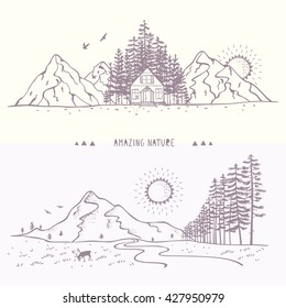 Two beautiful panorama nature with mountains and forest. Hand drawn sketch. Stylish vector illustration