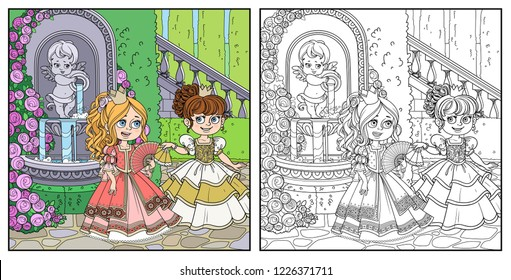 Two beautiful princesses communicate with fans near fountain Cupid with a jug rose overlaid in a secluded corner of the palace park color and outlined for coloring