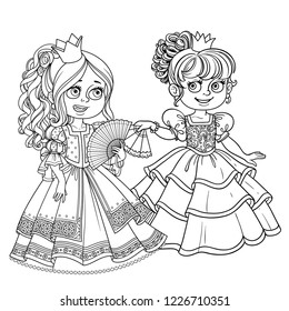 Two beautiful princesses communicate with fans outline for coloring isolated on white background
