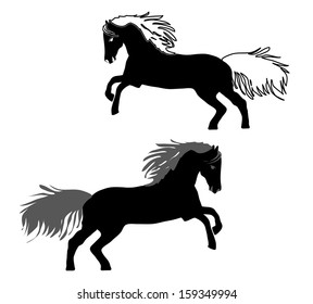 Two beautiful running horse vector outline and silhouette - black and white illustration