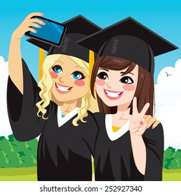 Two beautiful student girls on graduation day celebration taking selfie