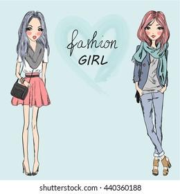 Two beautiful stylish cute cartoon girls.