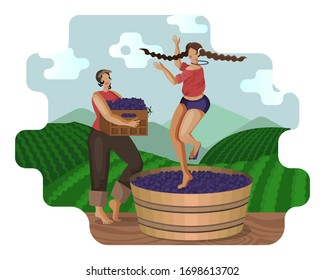 Two beautiful village young women are crushing grapes with feet traditional method while dancing in wooden vat on background of vineyards and mountain landscape. Craft wine making. Flat cartoon vector