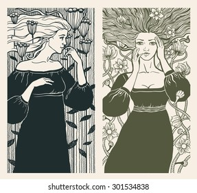 Two beautiful women in art nouveau style. Vector.