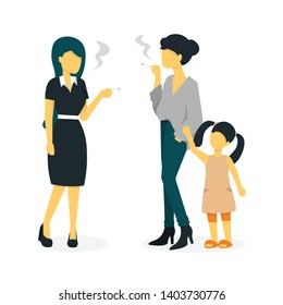 Two beautiful young girls smoking in front of a child. Young mother with a baby smokes. Flat vector illustration.