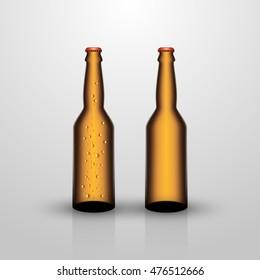 Two beer bottles on gray background, vector illustration