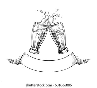 Two Beer Glasses clink at a Toast with a Splash of beer foam, Ribbon for text below. Hand drawn illustration for design menu restaurants, pubs, brewery, Festival posters, Oktoberfest, banners. Vector