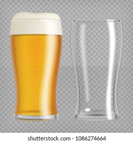 Two beer glasses, one empty and one full. Lager beer. Transparent realistic elements.Ready to apply to your design. Vector illustration.
