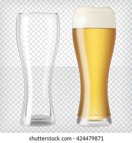 Two beer glasses, one empty and one full. Lager beer with foam. Transparent realistic graphic design elements. Ready to apply to your design. Vector illustration.