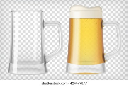 Two beer mugs. An empty glass and a full glass. Mug full with blond beer with foam. Transparent realistic elements. Ready to apply to your design. Vector illustration.