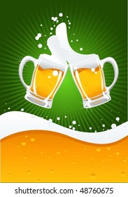 two beer mugs and beer wave
