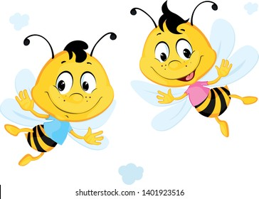 Two Bees Flying Cartoon isolated on White - Vector Illustration