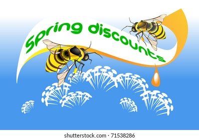 Two bees gather honey from the spring flowers on the  background of  poster