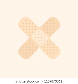 Two beige crossed band aid simple vector medicine illustration