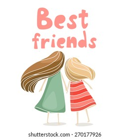 Two best friends girls holding hands. Vector illustration about friendship isolated on white