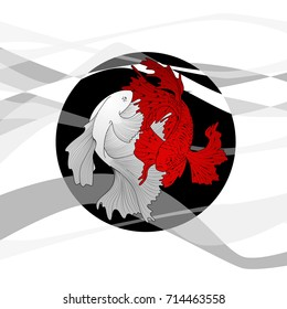 Two betta fish red and white fighting on black round icon with grey waves. Vector illustration