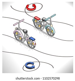 Two bicycles following curvy lines and circular arrows, vector illustration, isometric