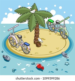 Two bicycles riding around a small remote island with palm tree in ocean, fish and seagulls watching (vector illustration, isometric)