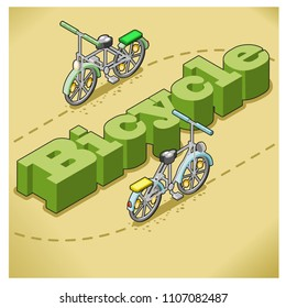 Two bicycles riding on a dotted line around the word bicycle itself in isometric view in sand and meadow colored setting (isometric illustration)