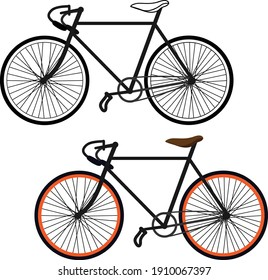 Two bicycles: sketch and color. Vector flat illustration of sport transport isolated on white background. The illustration is designed for banners, postcards, picture element.