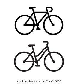 Two bike silhouette icons. Sporty road bicycle and casual city cruiser, male and female types. Simple vector illustration.