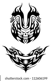 Two bike tattoos in tribal style for t-shirt design, such a logo. Jpeg version also available in gallery