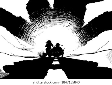 two bikers on a motorcycle with a side car driving towards the sunset